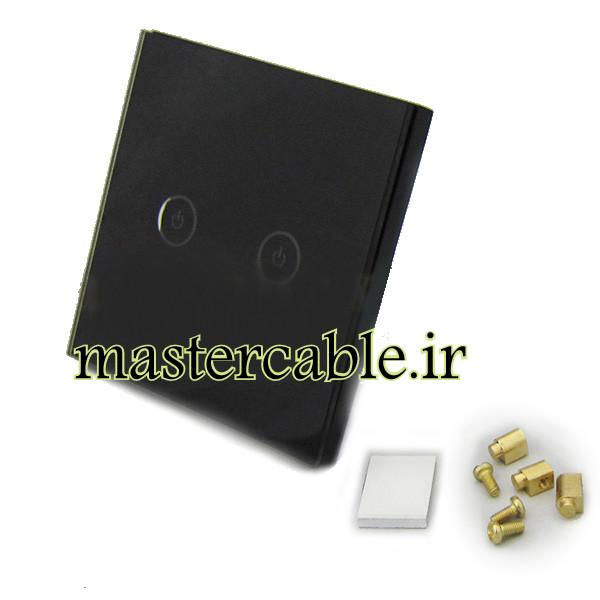 کلید هوشمند EU دوپل مشکی گرد S908-A2P2 با ابعاد 33×86×86