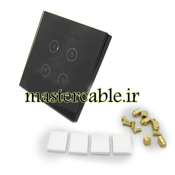 کلید هوشمند EU چهارپل مشکی گرد S908-A2P4 با ابعاد 33×86×86