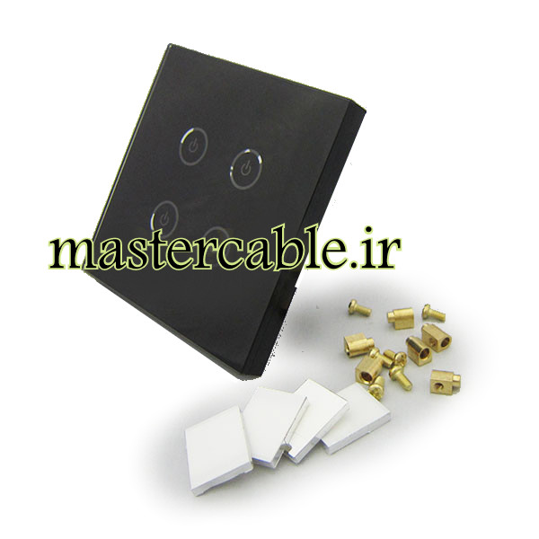 کلید هوشمند EU چهار پل مشکی S904-A2P4 با ابعاد 35×86×86