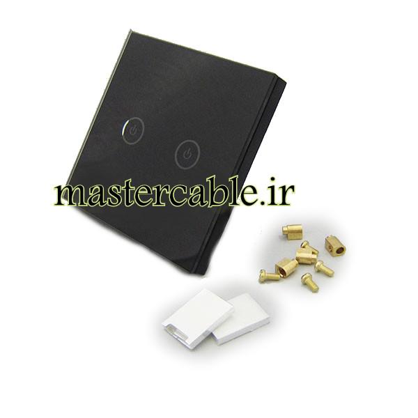 کلید هوشمند UK دو پل مشکی S901-A2P2 با ابعاد 35×86×86